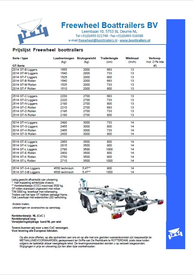 Freewheel prijslijst GT serie