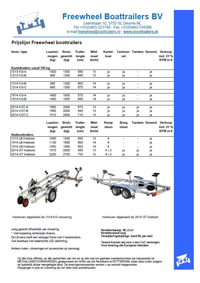 Freewheel prijslijst kielboottrailer