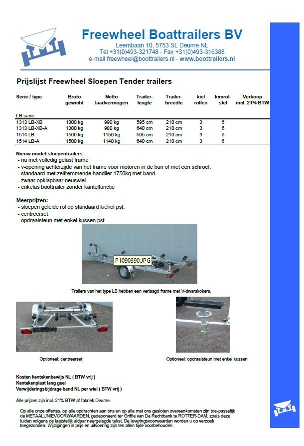 Freewheel prijslijst Sloep & Tender