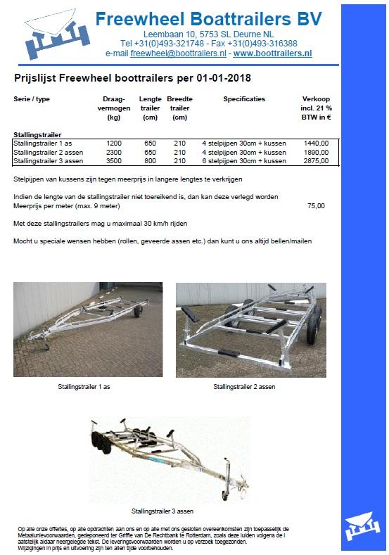 Prijslijst Freewheel stallingstrailers